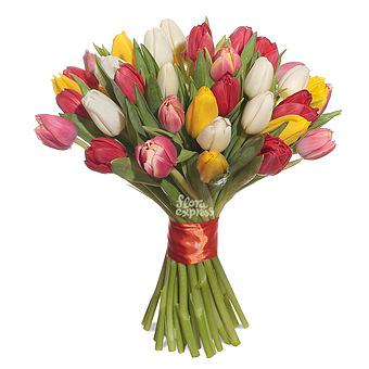 Букет Весенний каприз: Микс тюльпанов