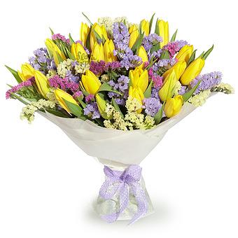 Букет Гемера: Тюльпаны и статица